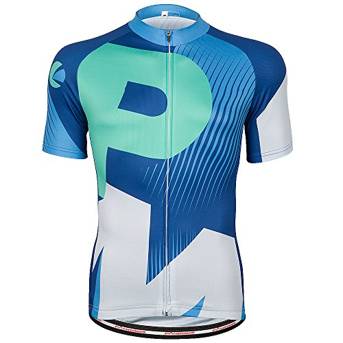 PANDOOM Men's Breathable Short Sleeve Cycling Jersey Quick Dry Biking Shirts For Outdoor Sports Size L