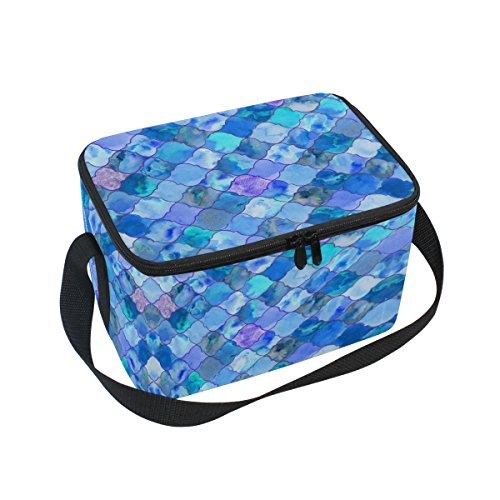 ALAZA Mermaid Fish Scale Insulated Lunch Bag Box Cooler Bag