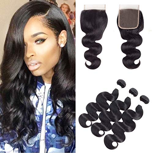 Mulsanne Brazilian Virgin Hair Body Wave Bundles with Closure 10 12 14 with 10 100% Unprocessed Human Hair Bundles with Lace Closure 8A Grade Hair Weave Natural Black Color (10 12 14+10 Free Part)