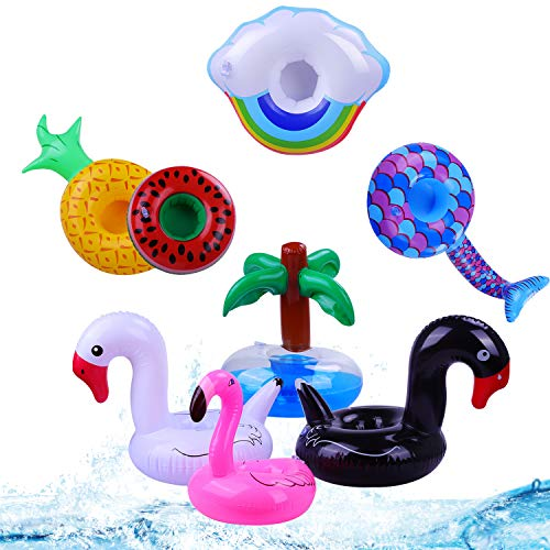 (pool floats Inflatable Drink Holders8 Pack Floats Inflatable Cup Coasters Holders for Summer Pool Party and Kids Water Fun Bath Toys (8 pcs)