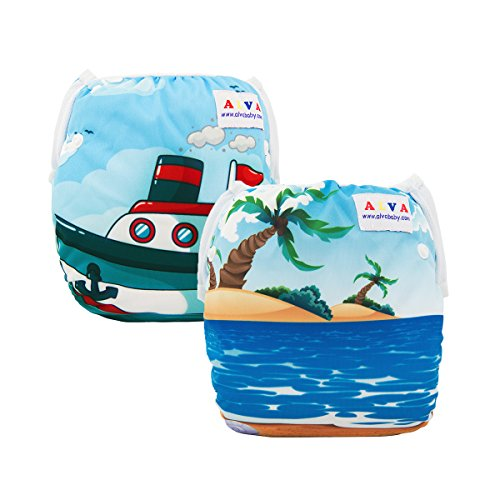 ALVABABY Baby Swim Diapers 2 Pcs One Size Reuseable &Adjustable 0-24 MO.Size 10-40lbs DYK18-19 from ALVABABY