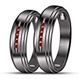 TVS-JEWELS Black Rhodium Plated 925 Silver Couple Engagement Ring In Comfort Fit Five Stone Gemstone (Red Garnet)