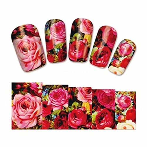 1 Set Colorful Flowers Nail Art Sticker Watermark Water Transfer Nails Wrap Paint Tattoos Stamper Plates Templates Tools Tips Kits Exceptional Popular Xmas Stick Tool Vinyls Decals Kit, Type-08