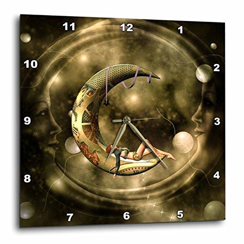 3dRose Heike Köhnen Design Steampunk – Steampunk, Steampunk Lady on The Moon – Wall Clocks