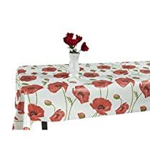 55 in. x 70 in. Indoor and Outdoor Red Poppy Flower Design Tablecloth for Dining Table