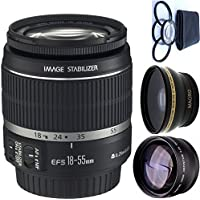 Canon 18-55mm IS Lens (WHITE BOX) + 4pc Macro Lenses Set (+1 +2 +4 +10) + High Definition Wide Angle Auxiliary Lens + High Definition Telephoto Auxiliary Lens