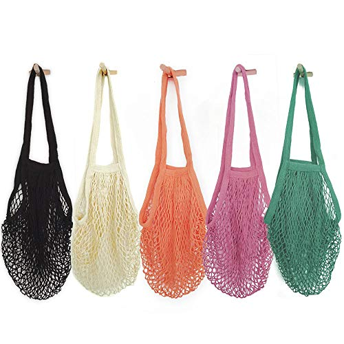Pack of 5 Portable/Reusable/Washable Cotton Mesh String Organic Organizer Shopping Handbag Long Handle Net Tote (Grey Blue/Black/Beige/Pink/Purple)