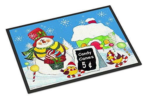 Caroline's Treasures PJC1076MAT Candy Canes for Sale Snowman Indoor or Outdoor Mat, 18 x 27