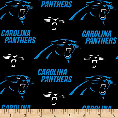 Fabric Traditions NFL Cotton Broadcloth Carolina Panthers Black/Blue Fabric by The Yard,