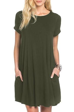 dcdc6a679f9 Kathemoi Womens Casual Tshirt Dresses Pocket Short Sleeve Loose Mini Shift  Dress