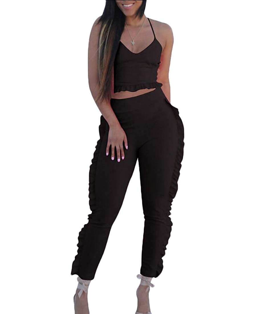 Womens 2 Pieces Jumpsuit Romper Ruffle Spaghetti Strap Top Long Pants Set