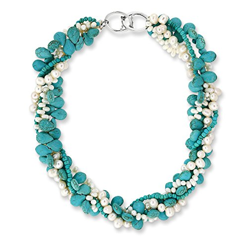 Cultured Pearl Twisted Necklace (Dyed Simulated Turquoise White Cultured Freshwater Pearl Twisted Necklace with Toggle Hook 18