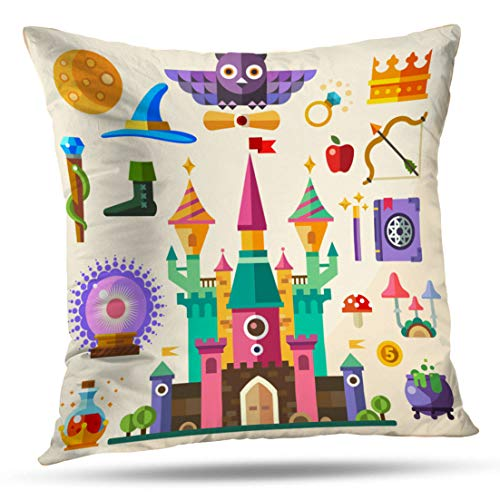 HAPPYOME Decorative Throw Pillow Covers Magic and Fairy Tale Castle Flat Owl Ring Crown Staff HatPillow Case Cushion Cover for Bedroom Livingroom Sofa 18X18 Inches