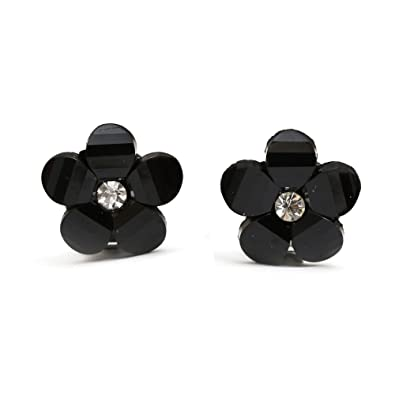 Idin Clip-on Earrings - Baby pink flower with rhinestone (approx. 16x16mm) HkXsIrXB