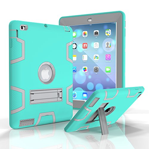 iPad 3 Case, iPad 4 Case, iPad 2 Case, Jeccy Dual layer Rugged Slim Full-body Shock Proof Hybrid Heavy Duty Armor Defender Protective Case with Kickstand for Apple iPad 2/3/4 (Aqua-Gray) by Jeccy