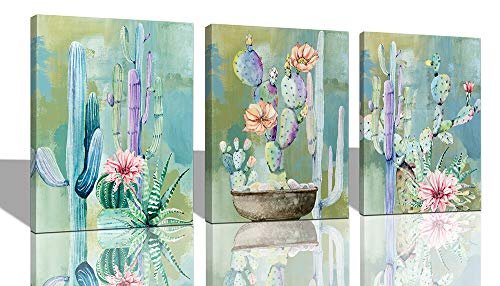 """Ardemy Canvas Wall Art Cactus Flowers 12""""x16"""" 3 Panels Watercolor Blue Painting, Modern Succulent Tropical Green Plants Pictures Framed Ready to Hang for Bathroom Kitchen Bedroom Living Room Spa Decor"""