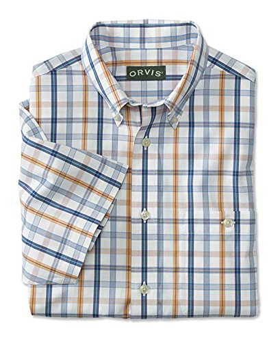 Free Pure Cotton Pinpoint Oxford Short-Sleeved Shirt/Pure Cotton Wrinkle-Free Oxford, Blue/Coral, X Large (Wrinkle Free Pure Cotton Shirt)