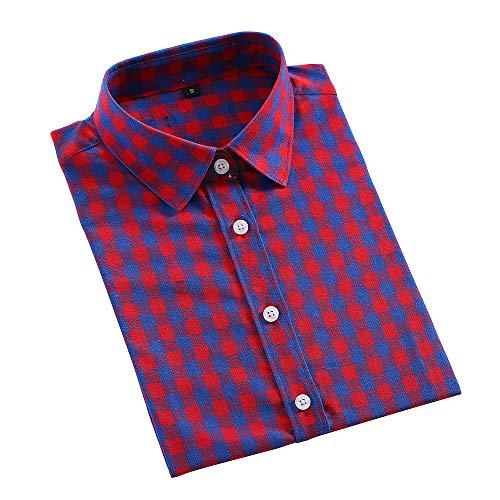 Acqrobe Camisa Casual para Mujer Classic Lattice Impreso botón de algodón Camisetas de Manga Larga Blusa Slim Fit Primavera...
