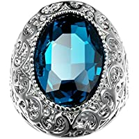 Large 4CT 925 Silver Blue Topaz Ring Women Men Cocktail Anniversary Jewelry New (7)