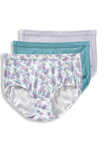 Jockey Women's Underwear Elance Breathe Brief - 3 Pack, Violet Mist/Blooming Fern Purple/Blue Stone, 9