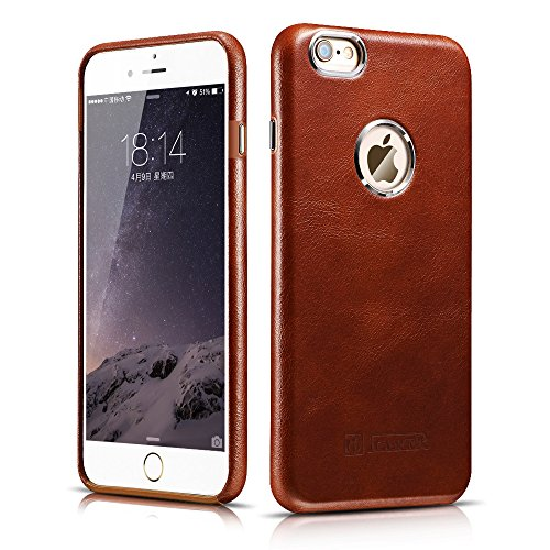 iPhone 6 / 6S Case, Icarercase [Vintage Classic Series] Luxury Premium Genuine Real Leather Case Back Cover with [Ultra Slim] for Apple iPhone 6 / iPhone 6S Case 4.7 Inch (Brown) (Premium Leather Case Cover)