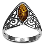 Light Amber Sterling Silver Celtic Lace Ring
