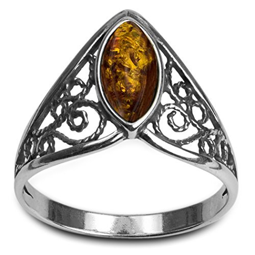 Light Amber Sterling Silver Celtic Lace Ring ()