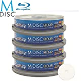 40 Pack Smartbuy M-Disc BD-R 25GB 4X HD White Inkjet Printable 1000 Year Permanent Data Archival / Backup Blank Media Recordable Disc