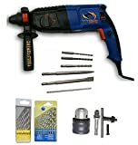 Tools Centre 26Mm 3 Modes Rotary Drill Machine With A Carry Case,3 Pcs Hammer Drill Bits,2 Pcs Chisels,Chuck & Adapter
