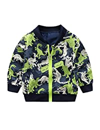 FIged Baby Outerwear, Baby Long Sleeve Dinosaur Windproof Zip Winter Coat Jacket