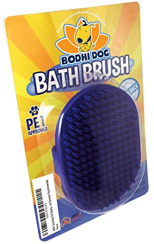 NEW Grooming Pet Shampoo Brush | Soothing Massage Rubber Bristles Curry Comb for Dogs & Cats Washing | Professional Quality (Bath Split)