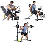 Ultimate Adjustable Physical Fitness Equipment Machine for Cross Fit Exercise or Training at Home Gym for People with Sport Lifestyle - Leg, Biceps or Chest Workout - Bench Press, BONUS e-book