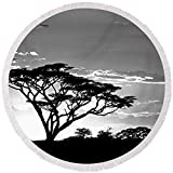 Pixels Round Beach Towel With Tassels featuring ''Silhouette Of Trees In A Field'' by Pixels