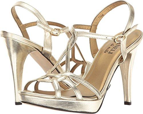 VANELi Women Qamar Dress Sandal Platino Met Nappa/Gold Buckle