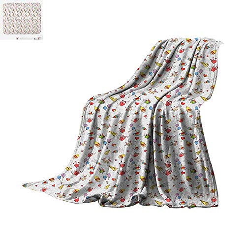 Luoiaax Birthday Warm Microfiber All Season Blanket Hand Drawn Style Elements of Surprise Celebration Party Cupcakes Hearts and Hats Summer Quilt Comforter 90