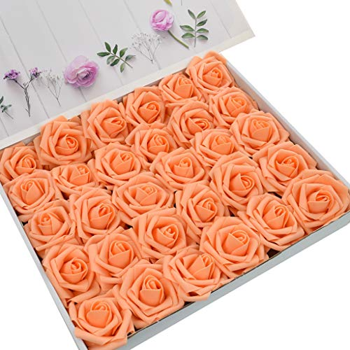 DerBlue 60pcs Artificial Roses Flowers Real Looking Fake Roses Artificial Foam Roses Decoration DIY for Wedding Bouquets Centerpieces,Arrangements Party Baby Shower Home Decorations (Orange)