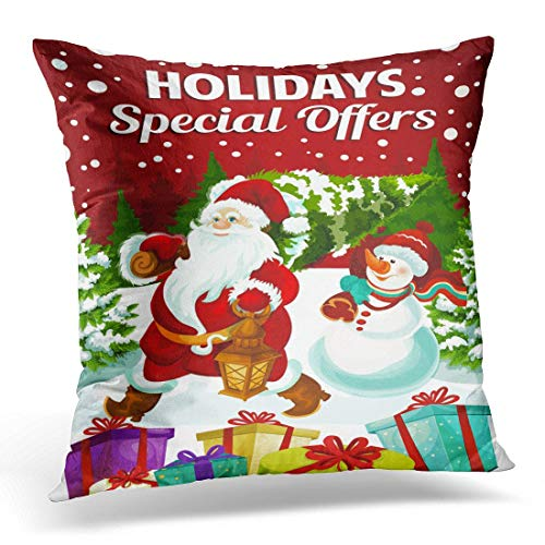 Better One Krui-LR Throw Pillow Cover for Happy Holidays Special Promo Offer of Santa and Snowman with Gifts Carry Tree Decorative Pillow Case Home Decor Square 18