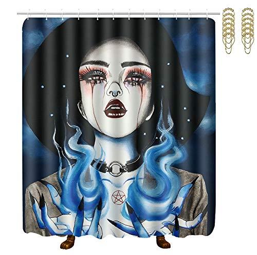Fire Magic Bar Caddy - OKAYDECOR Mildew Resistant Bath Curtain with Hooks - ice fire Goth Gotik Gothic Women Girl Art Shower Curtains - Waterproof Polyester Fabric Bathroom Decor - 60x72