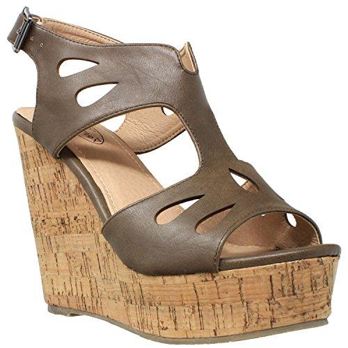 - Womens Platform Sandals Cutout T-Strap Slingback Cork Wedges Khaki SZ 8.5