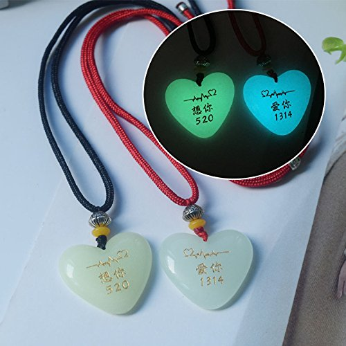 Fluorescent_ necklace Pendant necklace Pendant women girl couple short _section luminous_ chain jewelry _Tanabata_ Valentine's Day gift _to_send_his_ girlfriend _to_send_her_boyfriend