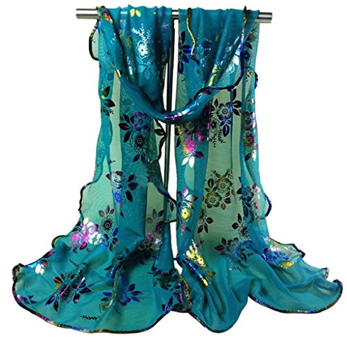 Sanwood Trendy Women Gauze Multi Flower Print Veil Church Mantilla Scarf Wrap