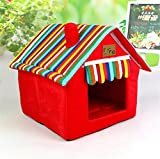 UMALL Cuddly Cave for Small Dogs House Indoor House Bed for Puppy Beds Foam Padding Soft Mats (M=404049cm, Red)