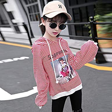 MV Girls Childrens Autumn New Striped Sports Casual Hat Cotton T-Shirt Jacket