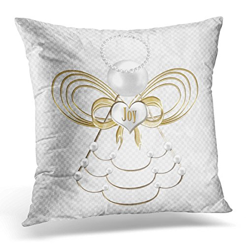 Emvency Throw Pillow Cover White Holiday Pearls and Gold Metallic Christmas Angel of Decorated Decorative Pillow Case Home Decor Square 16 x 16 Inch Pillowcase ()