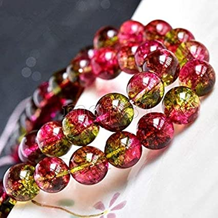 "8mm Genuine Natural Watermelon Tourmaline Round Gemstone Loose Beads 15/""AAA"