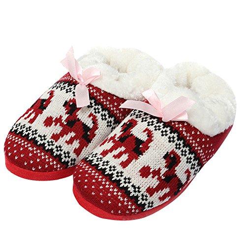 Rosesummer Xmas Warm Zacht Outdoor Home Slippers Schoenen Sneeuwvlokdruk Rood