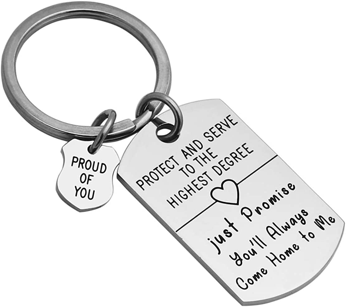 Meibai Police Officer Gift Come Home to Me Keychain Be Safe Gift for Police Dad Husband Boyfriend Enforcement Gift