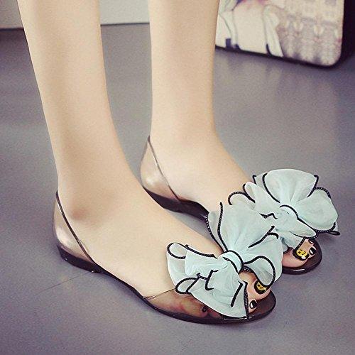 Crystal sandalias de la jalea cabeza de pescado plano con sandalias planas de los zapatos de los estudiantes flores days blue