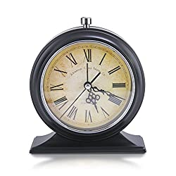 Makimoo Classic Retro Shelf Clock,Old Fashioned Vintage Non Ticking Desk Alarm Clock Mute Silent Quiet Table Alarm Clock Quartz Movement Battery Operated with Night Light, Black