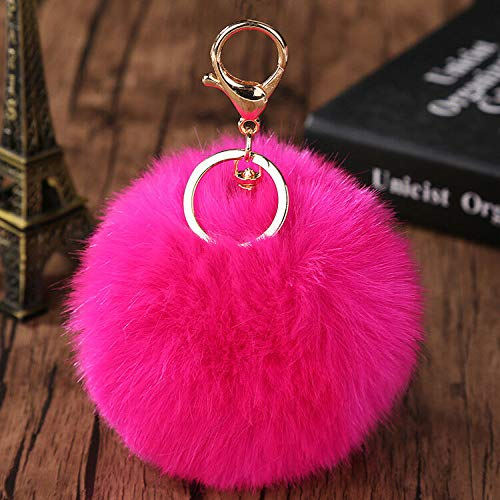 - Fluffy Pom Pom Faux Rabbit Fur Ball Key Chain Ring Keyring Keychain Bag Pendant (Color - Rosy)